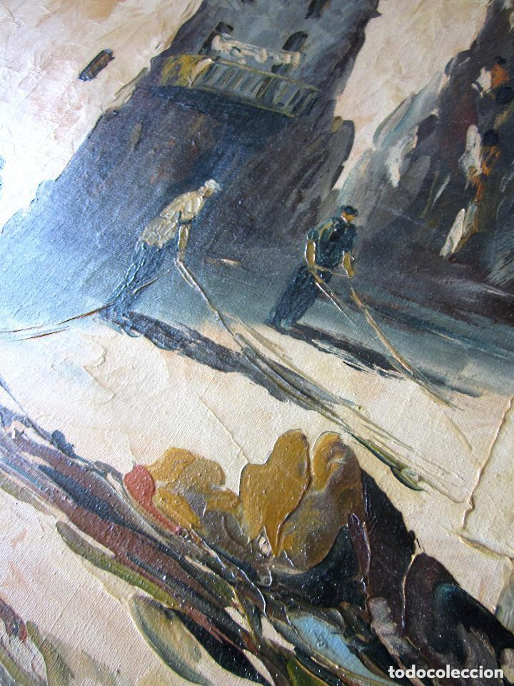 Arte: Excelente Pintura Óleo sobre lienzo sin firma escena pescadores vascos ? embarcadero redes marina - Foto 5 - 131981258
