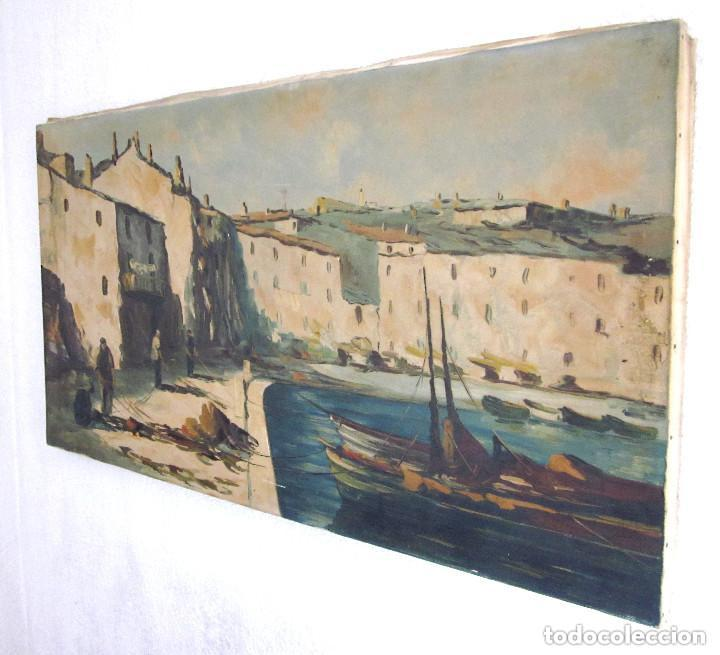 Arte: Excelente Pintura Óleo sobre lienzo sin firma escena pescadores vascos ? embarcadero redes marina - Foto 7 - 131981258