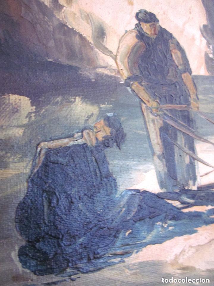 Arte: Excelente Pintura Óleo sobre lienzo sin firma escena pescadores vascos ? embarcadero redes marina - Foto 2 - 131981258
