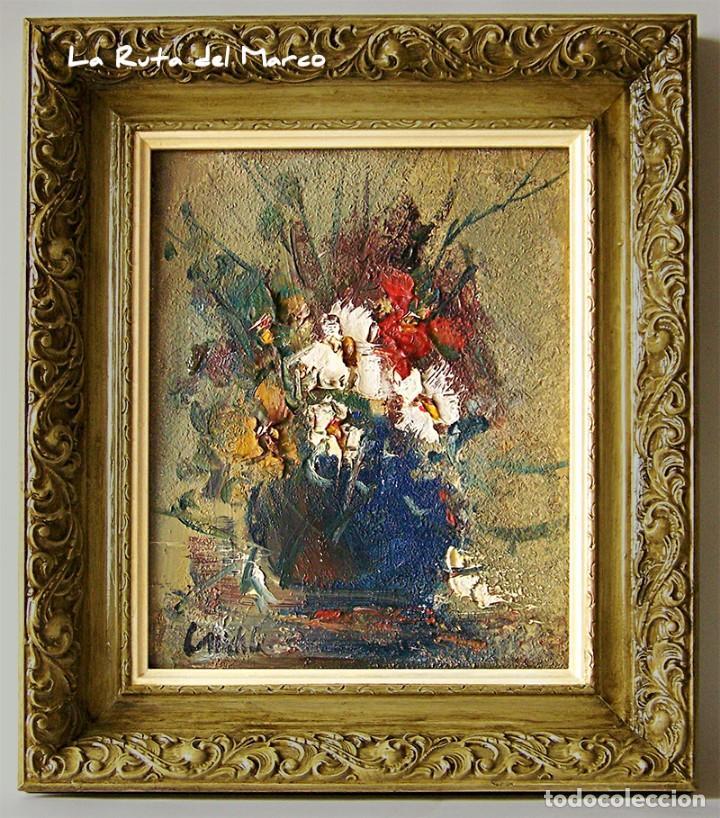 CUADRO DE ÓLEO SOBRE TABLERO - JARRÓN CON FLORES - FIRMADO (Arte - Pintura - Pintura al Óleo Contemporánea )