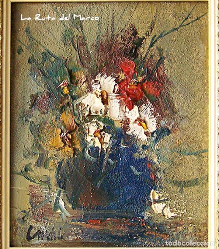 Arte: Cuadro de óleo sobre Tablero - Jarrón con Flores - Firmado - Foto 2 - 132005590
