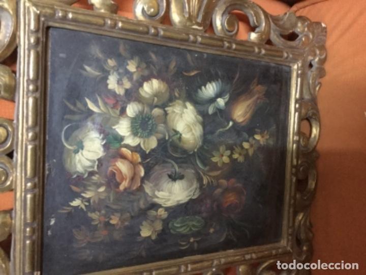 Arte: Antiguo óleo sobre lienzo con marco de madera dorado. 42x25. Motivos vegetales. - Foto 2 - 132037914