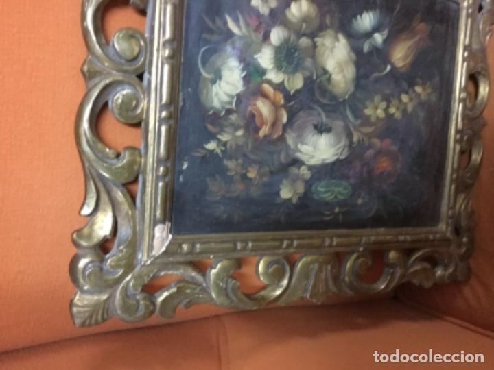 Arte: Antiguo óleo sobre lienzo con marco de madera dorado. 42x25. Motivos vegetales. - Foto 3 - 132037914