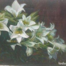 Arte: OLEO SOBRE TABLEX - FIRMADO LÓPEZ NAVAS - AZUCENAS. Lote 132204726