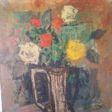 Arte: BERNAT SANJUAN, FLORES, OLEO SOBRE LIENZO, FIRMADO 55X46 CM.. Lote 132238122