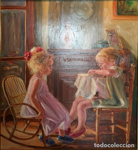 RETRATO INFANTIL. NIÑAS COSIENDO. (Arte - Pintura - Pintura al Óleo Contemporánea )