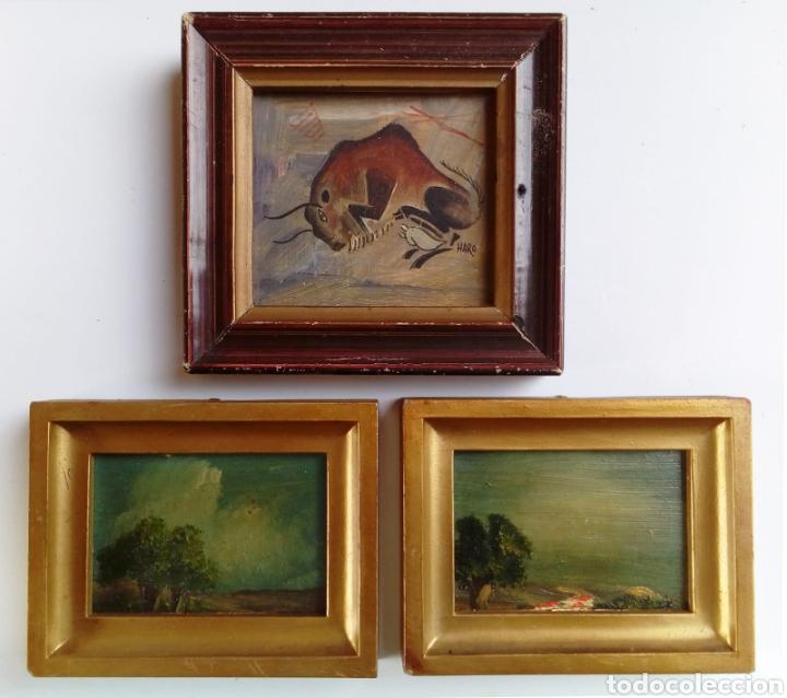 LOTE DE 3 CUADROS MINIATURAS REALIZADOS AL OLEO. (Arte - Pintura - Pintura al Óleo Contemporánea )