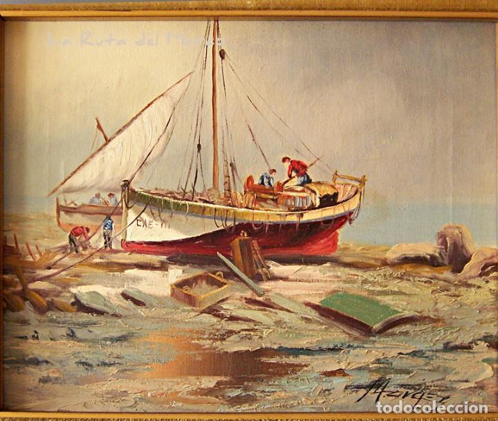 Arte: Márquez - Marina (I) - Cuadro de óleo sobre lienzo - Foto 2 - 132410934