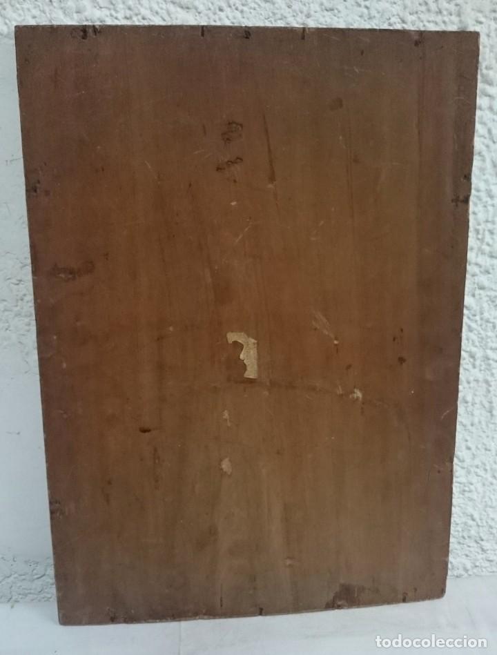 Arte: Antiguo óleo sobre tabla de cerezo. Faro en el mar. Pintura especial. Siglo XIX. 42x31x2 cm - Foto 3 - 132427238
