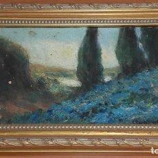 Arte: PAISAJE. ÓLEO SOBRE TABLA. ANTONIO RODRÍGUEZ MOREY CUBA 1874-1967. FIRMADO Y FECHADO MADRID 1920.. Lote 132445586