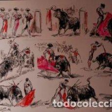 Arte: OLEO SOBRE PAPEL, TODAS LAS FASES DE LA CORRIDA. LOPEZ CANITO.. Lote 137928408
