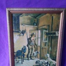 Arte: 90- OLEO SOBRE TABLA, CAZA, JOSE MONZON ABRIL, 1970. Lote 132523682