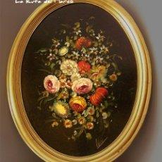 Arte: FLORES (I) - CUADRO ENMARCADO OVALADO DE ÓLEO SOBRE TABLERO. Lote 132583850