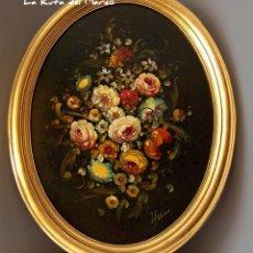 Arte: FLORES (II) - CUADRO ENMARCADO OVALADO DE ÓLEO SOBRE TABLERO. Lote 132584058