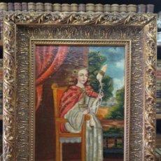Arte: BELLO OLEO SOBRE LIENZO CUZQUEÑO - VIRGEN NIÑA HILANDO - MARCO DE GRAN CALIDAD Y BELLEZA - S-XVIII -. Lote 132587826