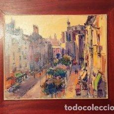 Arte: FANTASTICO CUADRO DE JOSEP MARFA GUARRO - PASSEIG DEL BORN - BARCELONA -. Lote 132617754