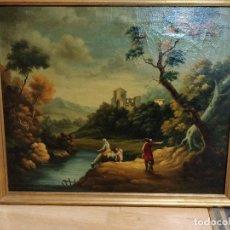 Arte: OLEO S.XIX CON ESCENA CAMPESTRE DE VIAJEROS EN UN RÍO CERCA DE LA CIUDAD.. Lote 132645178