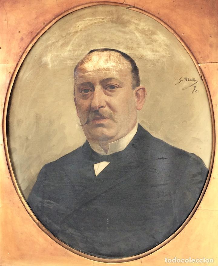 RETRATO DE CABALLERO. ÓLEO(?) SOBRE LIENZO. FIRMADO S. MATILLA. ESPAÑA. 1890 (Arte - Pintura - Pintura al Óleo Moderna siglo XIX)