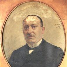 Arte: RETRATO DE CABALLERO. ÓLEO(?) SOBRE LIENZO. FIRMADO S. MATILLA. ESPAÑA. 1890. Lote 132660810