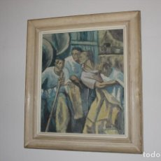 Arte: CUADRO OLEO FIRMA AROSTEGUI - JUAN DE A. BARBIER - TITULO ALEGORÍA DE LA INDUSTRIA VASCA - ORIGINAL. Lote 132732930