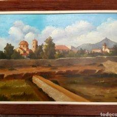 Arte: A. GUILAVERT R. OLEO SOBRE TABLA. 71X55CM, VISTA DE PUEBLO, PROBABLEMENTE ALICANTINO.. Lote 132830125