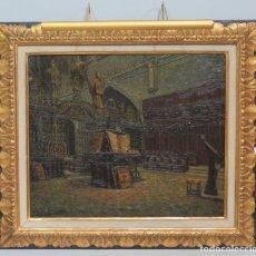 Arte: MAGNIFICO INTERIOR DE CATEDRAL. CORO LA SEO DE ZARAGOZA. OLEO S/T.FRANCISCO GOMEZ GIMENO (1892-1954). Lote 132833070