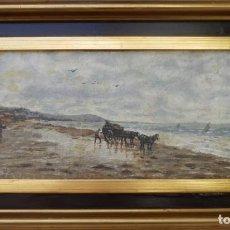 Arte: RECOGIDA DE ALGAS EN EL CANTÁBRICO. SEGUIDOR DE CARLOS DE HAES.. Lote 132888694