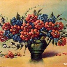 Arte: R. LLORENS. ÓLEO SOBRE CARTÓN. FLORERO. 26X45 CM. FIRMADO A MANO. BODEGÓN. BUEN ESTADO.. Lote 132901398
