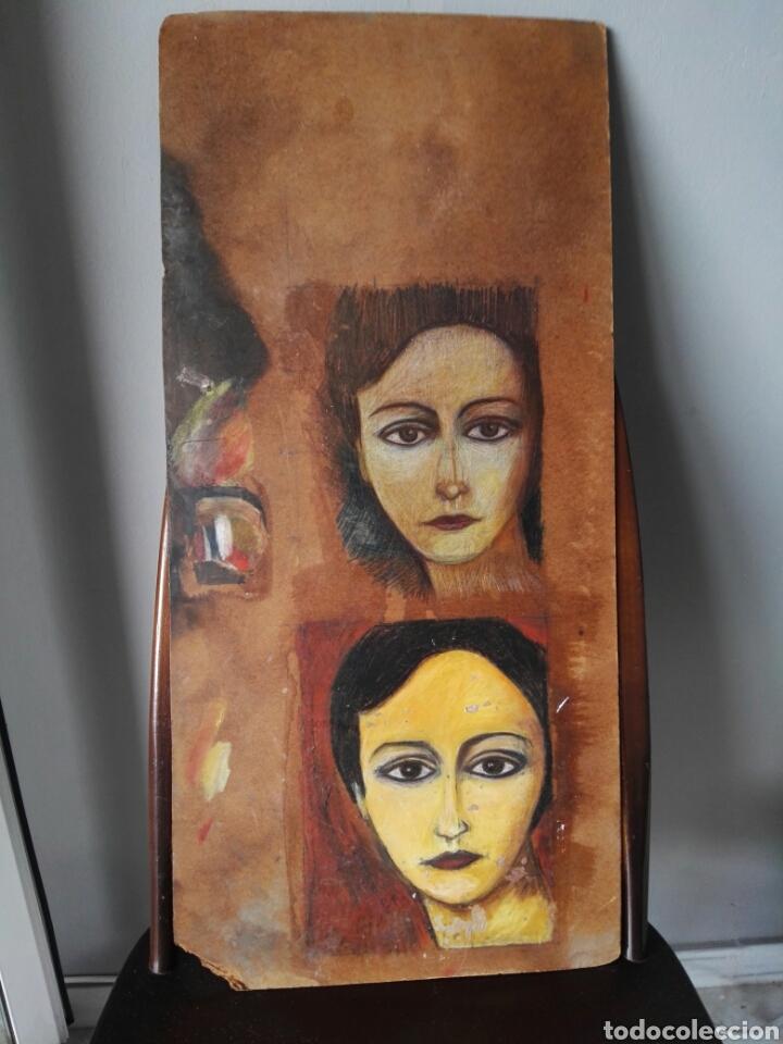 PINTURA SOBRE TABLERO ENCONTRADO DETRAS DE UN CUADRO (Arte - Pintura - Pintura al Óleo Antigua sin fecha definida)