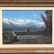 Arte: JULI BORRELL I PLA (1877-1957): PLAÇA D'ALP DURANT UNA FESTA ÓLEO/TABLA 37 X 53 CM PRINCIPIOS XX. Lote 133207430