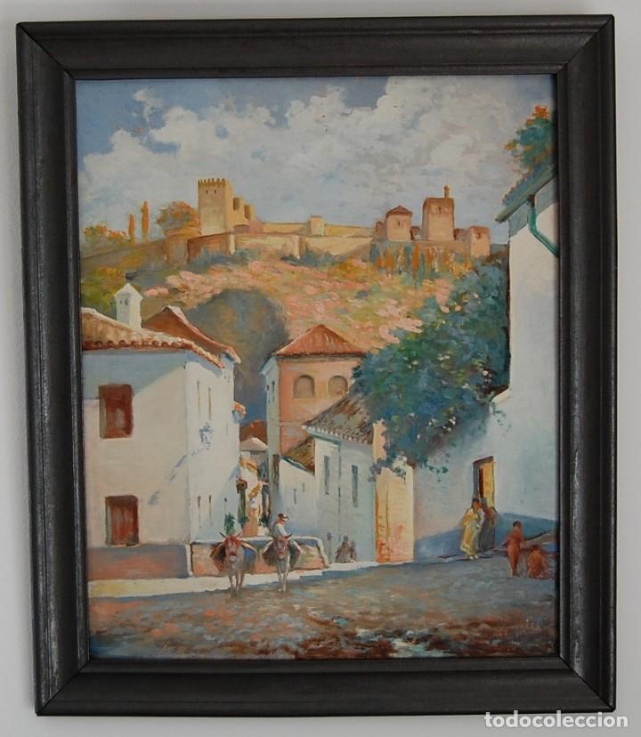 MANUEL TEJERO ( ESCUELA SEVILLANA DEL SIGLO XX ) - VISTA DE LA ALHAMBRA - GRANADA 1945 (Arte - Pintura - Pintura al Óleo Moderna siglo XIX)