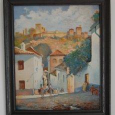 Arte: MANUEL TEJERO ( ESCUELA SEVILLANA DEL SIGLO XX ) - VISTA DE LA ALHAMBRA - GRANADA 1945. Lote 32505156