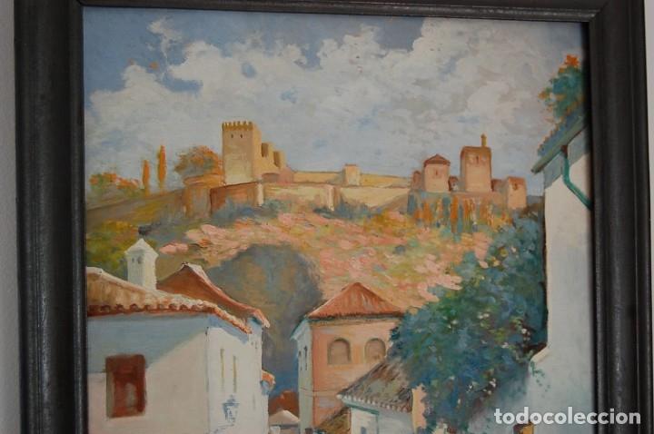 Arte: MANUEL TEJERO ( Escuela Sevillana del siglo XX ) - Vista de la Alhambra - Granada 1945 - Foto 2 - 32505156