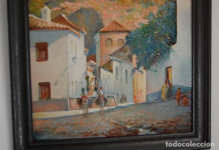 Arte: MANUEL TEJERO ( Escuela Sevillana del siglo XX ) - Vista de la Alhambra - Granada 1945 - Foto 3 - 32505156