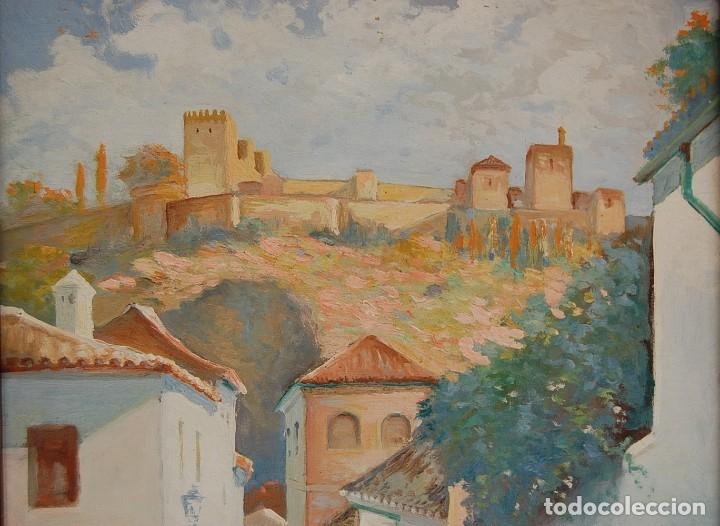 Arte: MANUEL TEJERO ( Escuela Sevillana del siglo XX ) - Vista de la Alhambra - Granada 1945 - Foto 5 - 32505156