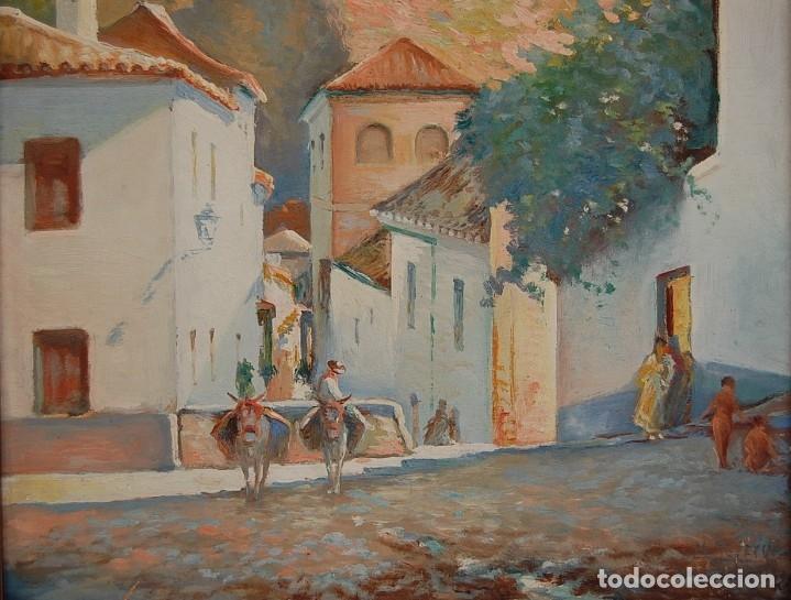 Arte: MANUEL TEJERO ( Escuela Sevillana del siglo XX ) - Vista de la Alhambra - Granada 1945 - Foto 6 - 32505156