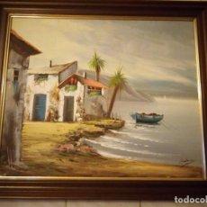Arte: PRECIOSO OLEO SOBRE LIENZO ORILLA DEL MAR,FIRMADO L. SATORRE.. Lote 133252714