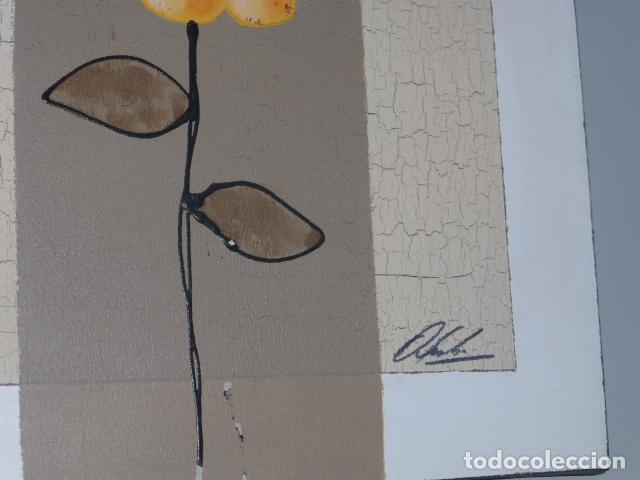 Arte: MODERNO CUADRO FLORAL PINTADO AL OLEO SOBRE LIENZO - Foto 2 - 133273702
