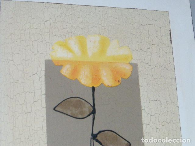 Arte: MODERNO CUADRO FLORAL PINTADO AL OLEO SOBRE LIENZO - Foto 3 - 133273702