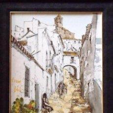 Arte: BERNARD DUFOUR. ÓLEO SOBRE LIENZO CALLE DE PUEBLO ESPAÑOL. FIRMADO A MANO. EN BUEN ESTADO. 57X47 CM.. Lote 133286558