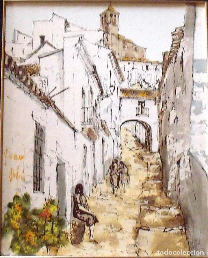Arte: Bernard Dufour. Óleo sobre lienzo Calle de pueblo español. Firmado a mano. En buen estado. 57x47 cm. - Foto 2 - 133286558