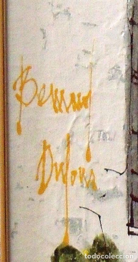Arte: Bernard Dufour. Óleo sobre lienzo Calle de pueblo español. Firmado a mano. En buen estado. 57x47 cm. - Foto 3 - 133286558