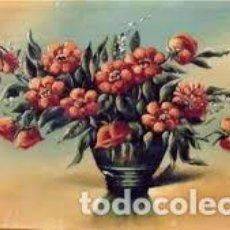 Arte: R. LLORENS. ÓLEO SOBRE CARTÓN. FLORERO. 26X45 CM. FIRMADO A MANO. EN BUEN ESTADO.. Lote 133293282