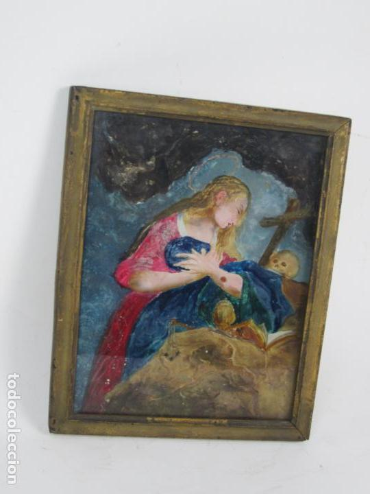 MAGDALENA PENITENTE, PINTURA BAJO VIDRIO, PRINCIPIOS SIGLO XIX. 21X26,5CM (Arte - Pintura - Pintura al Óleo Moderna siglo XIX)