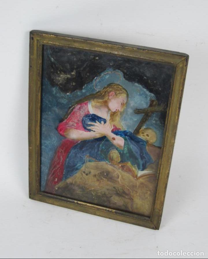 Arte: Magdalena penitente, pintura bajo vidrio, principios siglo XIX. 21x26,5cm - Foto 3 - 133293854