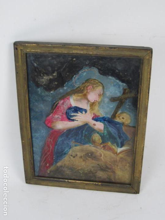 Arte: Magdalena penitente, pintura bajo vidrio, principios siglo XIX. 21x26,5cm - Foto 4 - 133293854