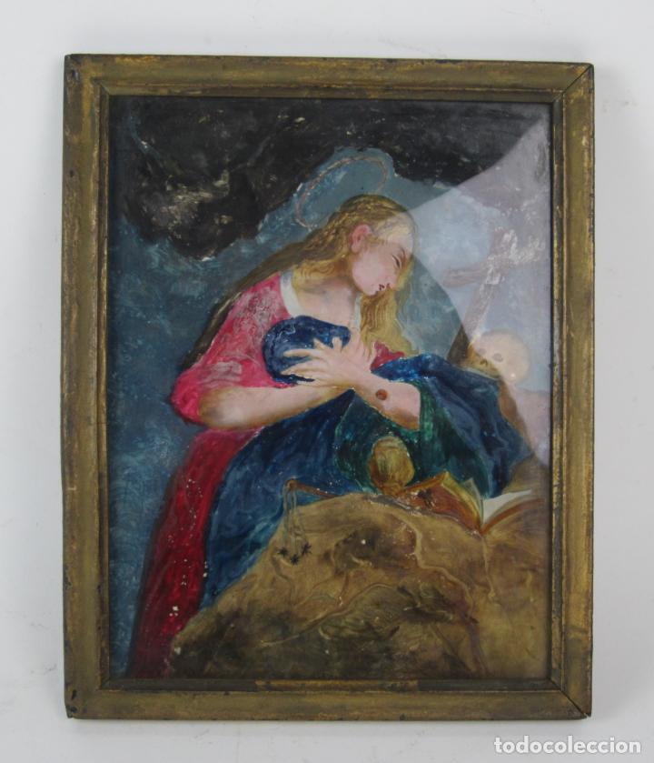 Arte: Magdalena penitente, pintura bajo vidrio, principios siglo XIX. 21x26,5cm - Foto 2 - 133293854