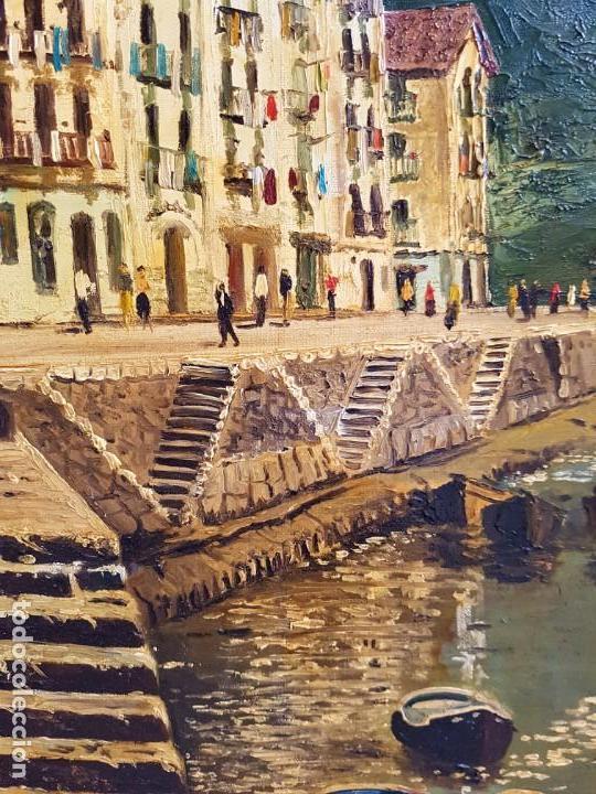 Arte: José Gutierrez Peten (1933-2014) - Vista Costera Embarcadero. Oleo sobre tabla. - Foto 3 - 133344510