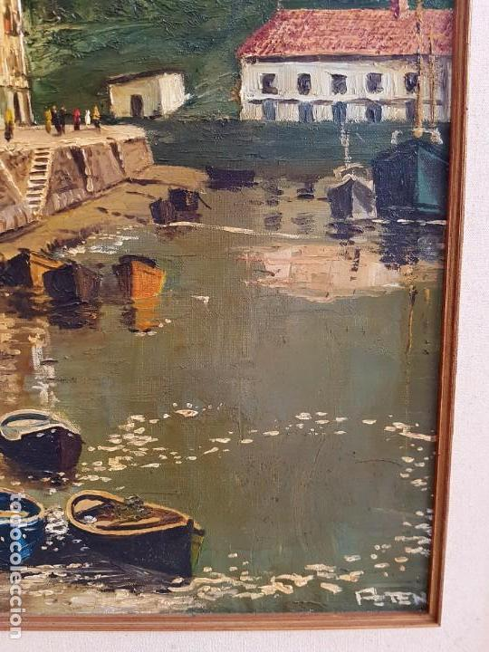 Arte: José Gutierrez Peten (1933-2014) - Vista Costera Embarcadero. Oleo sobre tabla. - Foto 4 - 133344510