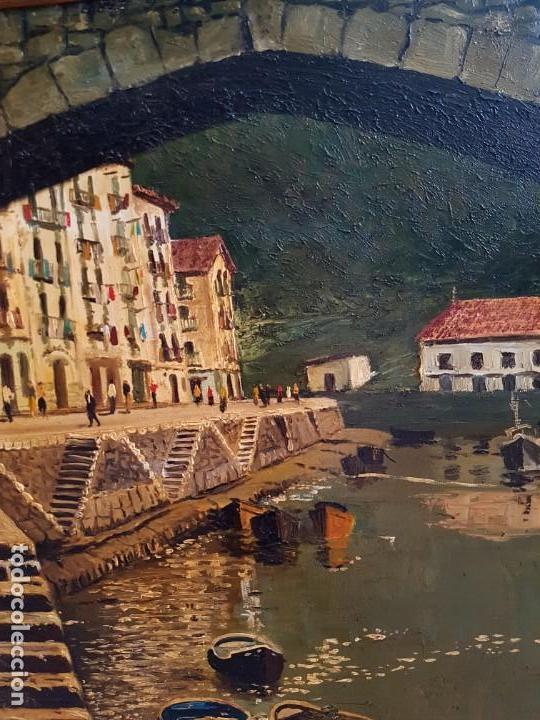 Arte: José Gutierrez Peten (1933-2014) - Vista Costera Embarcadero. Oleo sobre tabla. - Foto 5 - 133344510